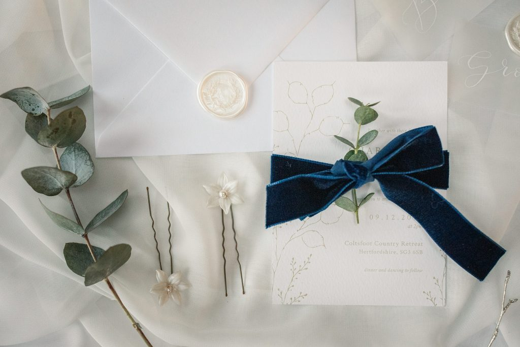 wedding stationery at winter wedding inspiration shoot taken by Becky Harley Photography
