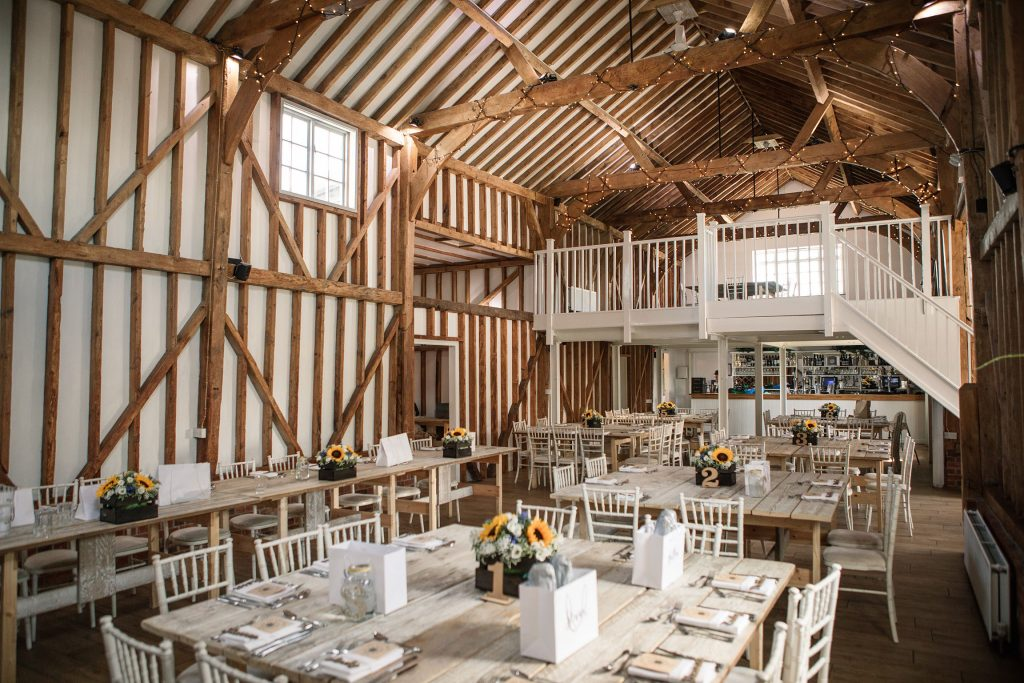 Interior of Milling Barn, one of the best barn wedding venues in Hertfordshire. Taken by Becky Harley Photography
