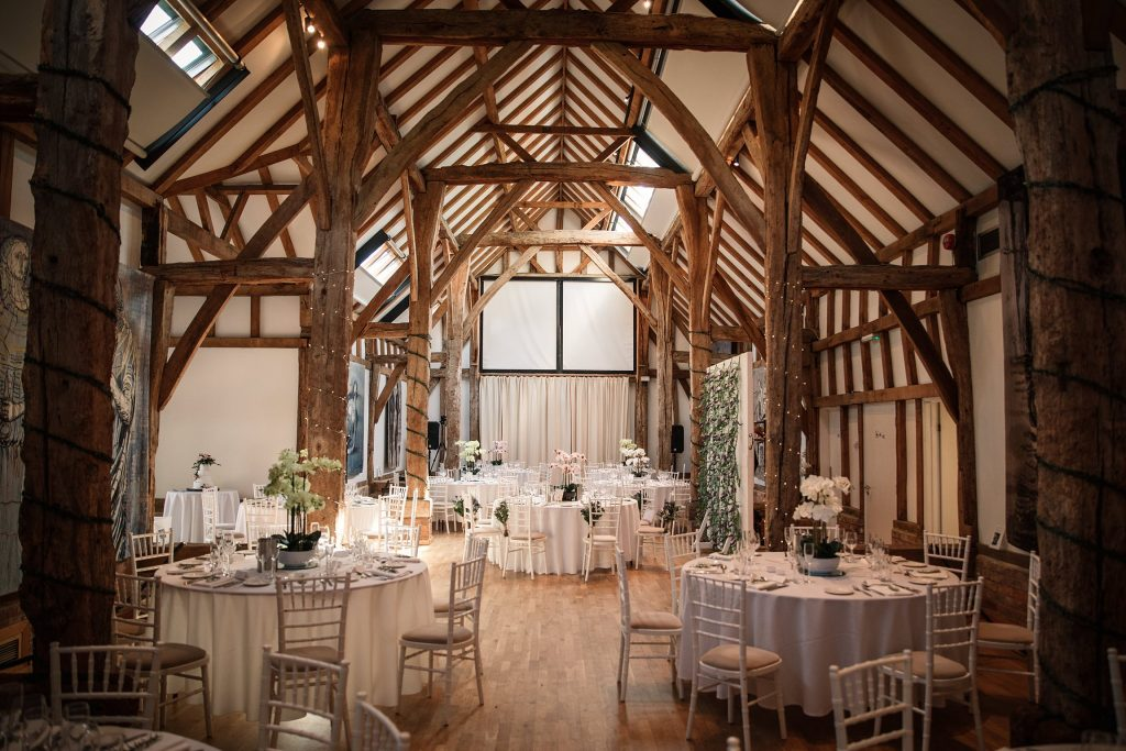 Interior of the aisled barn at the Henry Moore Foundation, one of the best barn wedding venues in Hertfordshire, taken by Becky Harley Photography