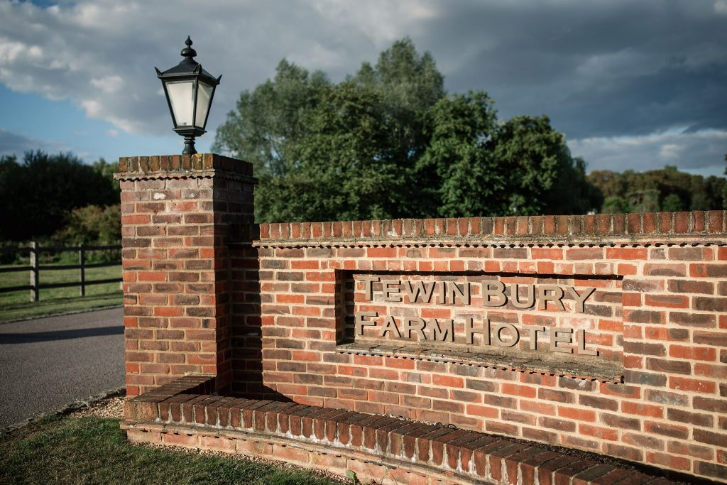 Signage outside Tewin Bury Farm, one of the best barn wedding venues in Hertfordshire. Taken by Becky Harley Photography