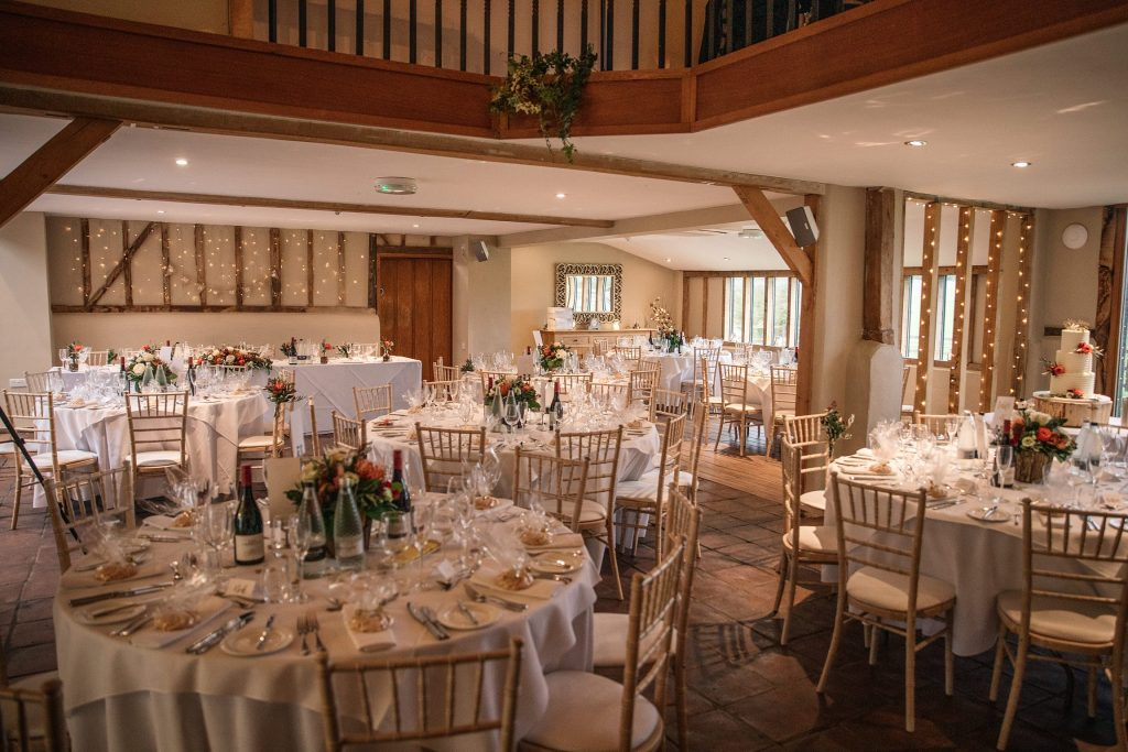 Interior set up of Coltsfoot Country Retreat, one of the best barn wedding venues in Hertfordshire. Taken by Becky Harley Photography
