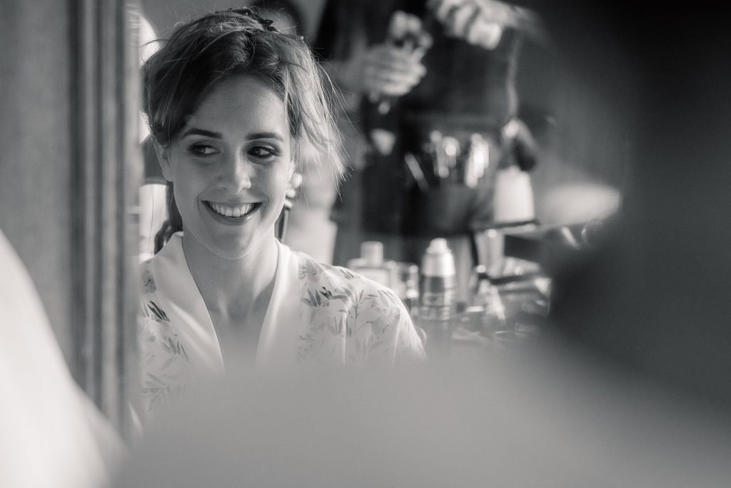 Bride getting ready at Shuttleworth Collection Wedding, taken by Becky Harley Photography