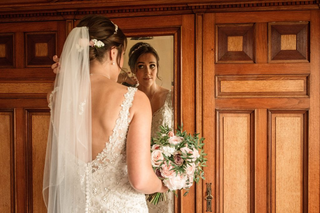 Bride getting read at Shuttleworth Collection Wedding, taken by Becky Harley Photography