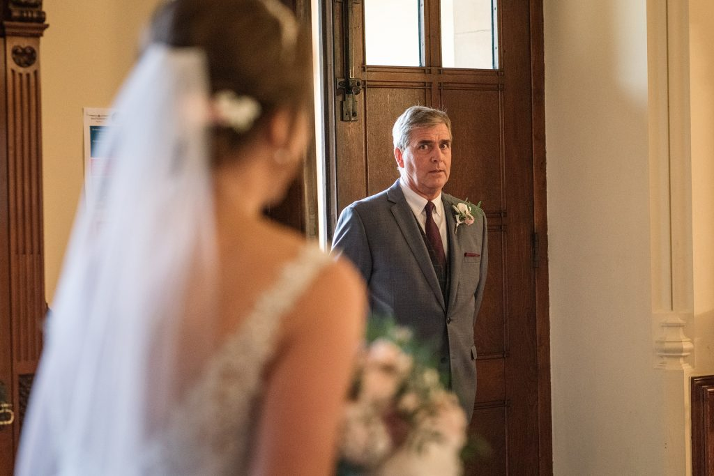 Father of the bride first look at Shuttleworth Collection Wedding, taken by Becky Harley Photography