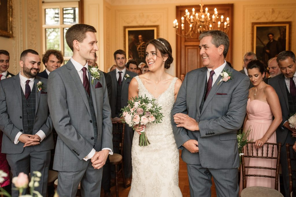 Bride and groom meeting at the ceremony at Shuttleworth Collection Wedding, taken by Becky Harley Photography