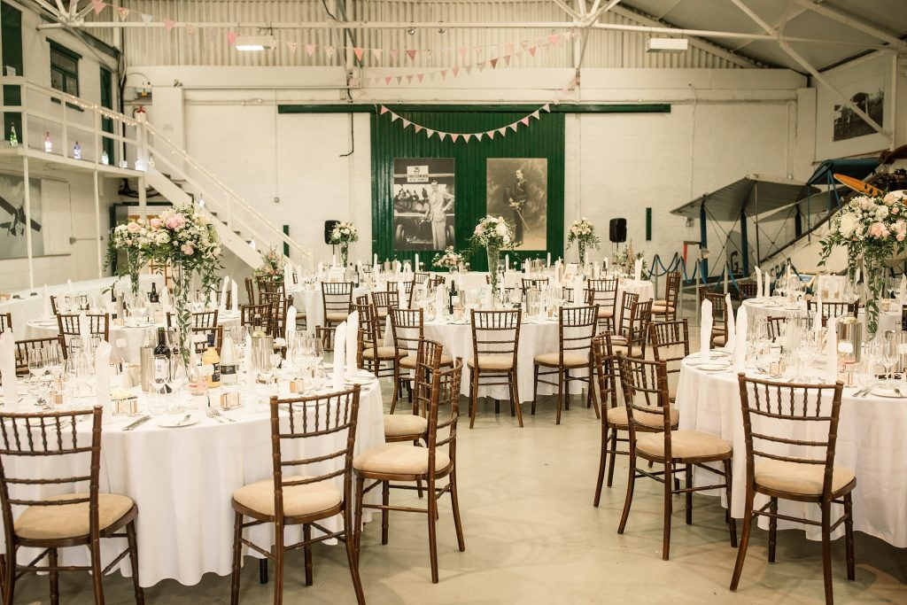 Interior of Hangar 3 at Shuttleworth Collection Wedding, taken by Becky Harley Photography