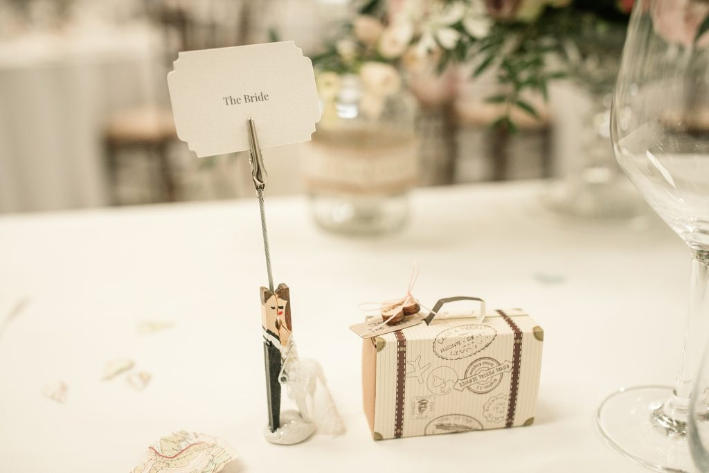 Travel themed wedding favours at Shuttleworth Collection Wedding, taken by Becky Harley Photography