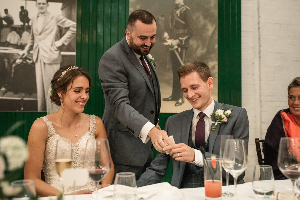 Bride groom and best man at Shuttleworth Collection Wedding, taken by Becky Harley Photography