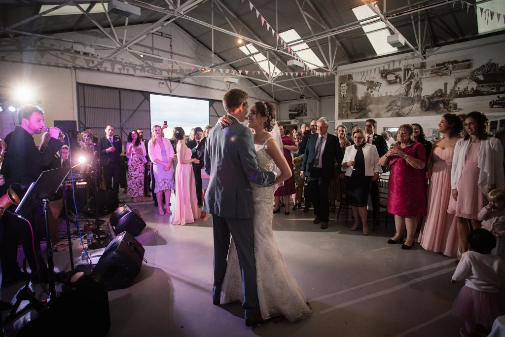 bride and groom first dance at Shuttleworth Collection Wedding, taken by Becky Harley Photography