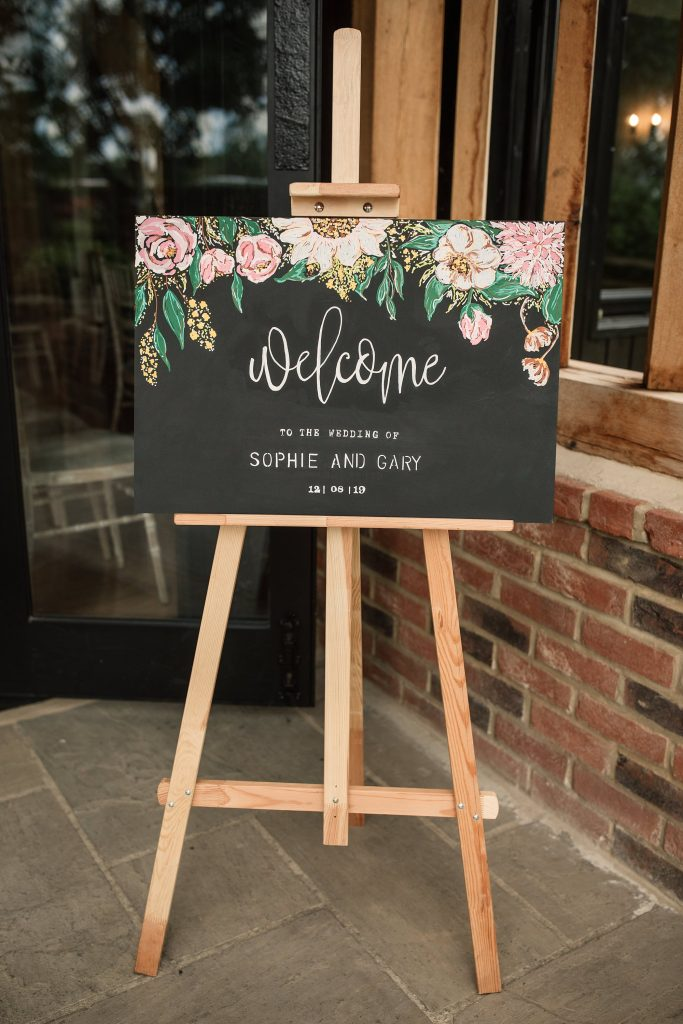 Welcome sign at Granary Estates Wedding taken by Becky Harley Photography