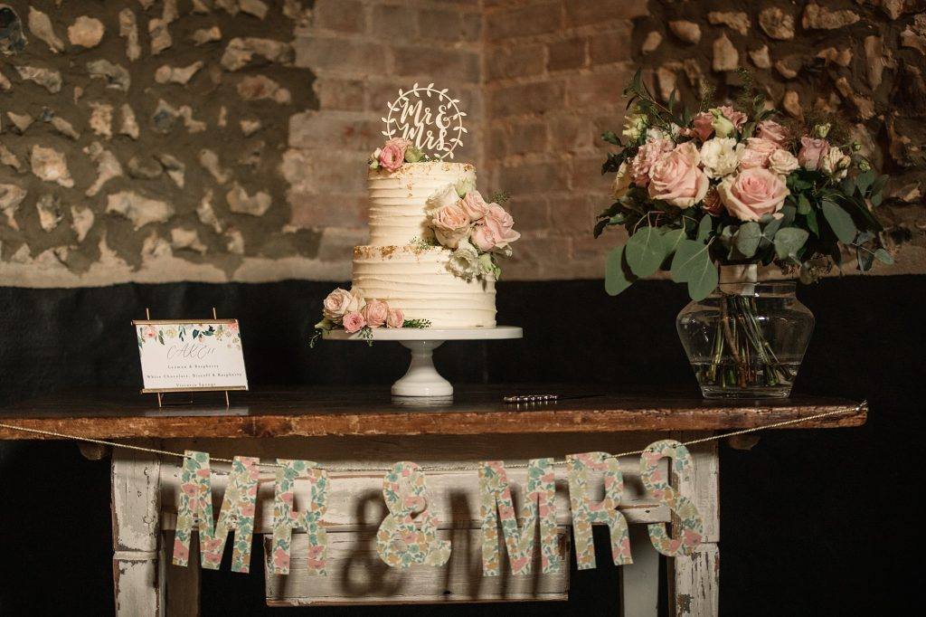 Wedding cake by Two Little Cats at Granary Estates Wedding taken by Becky Harley Photography