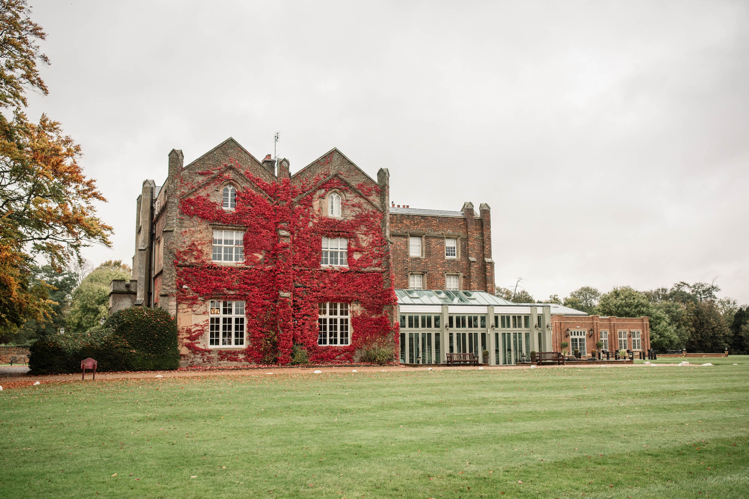 Frontage of Offley Place in the autumn taken by Becky Harley Photography