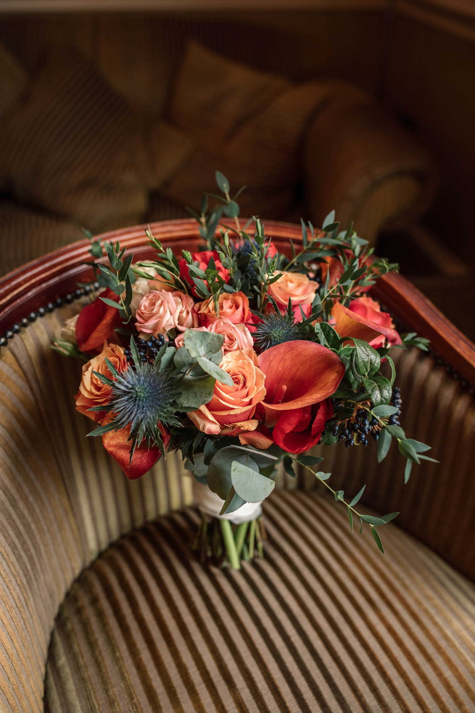 Bridal bouquet At autumnal Offley Place wedding taken by Becky Harley photography