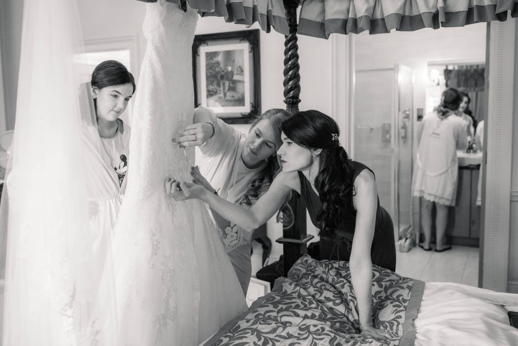 Bride and bridesmaids getting ready At autumnal Offley Place wedding taken by Becky Harley photography