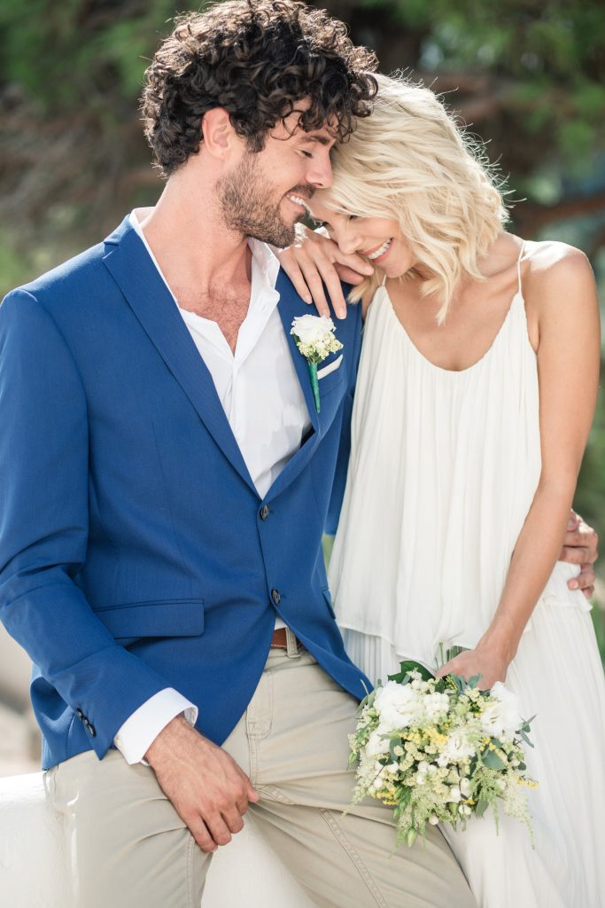 Couple embrace at Ibiza Destination Wedding, destination wedding planning tips, taken by Becky Harley Photography