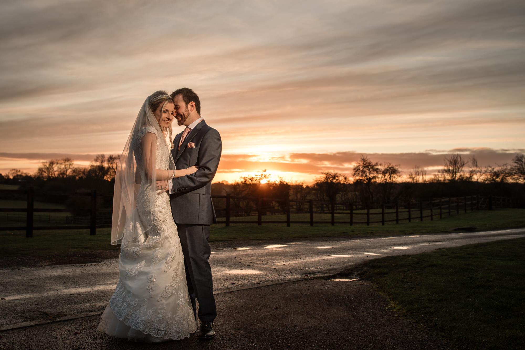 Setting Sun Winter Wedding couple