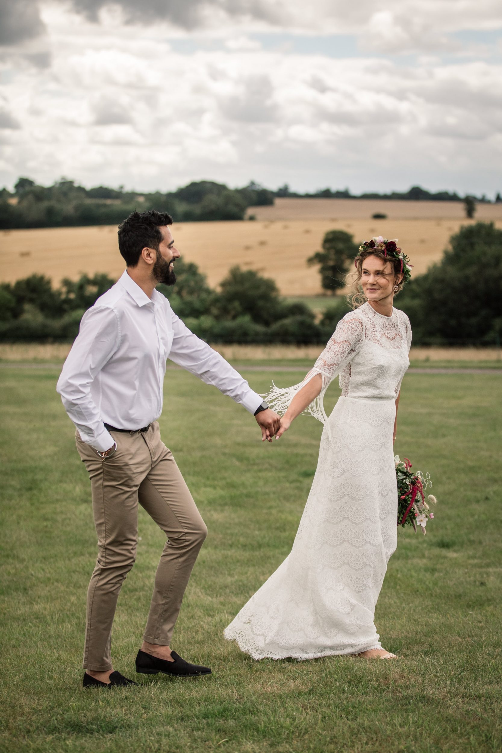 Bride and Groom for Suffolk Barn Wedding Photographer