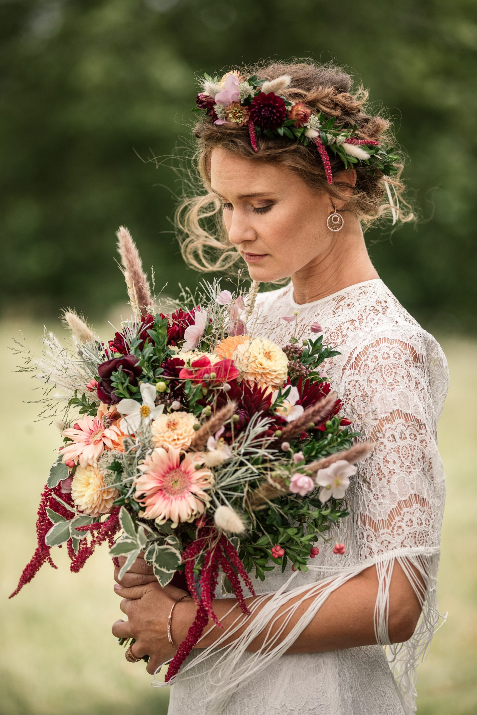 Bridal Bouquet and Bride for Suffolk Barn Wedding Photographer