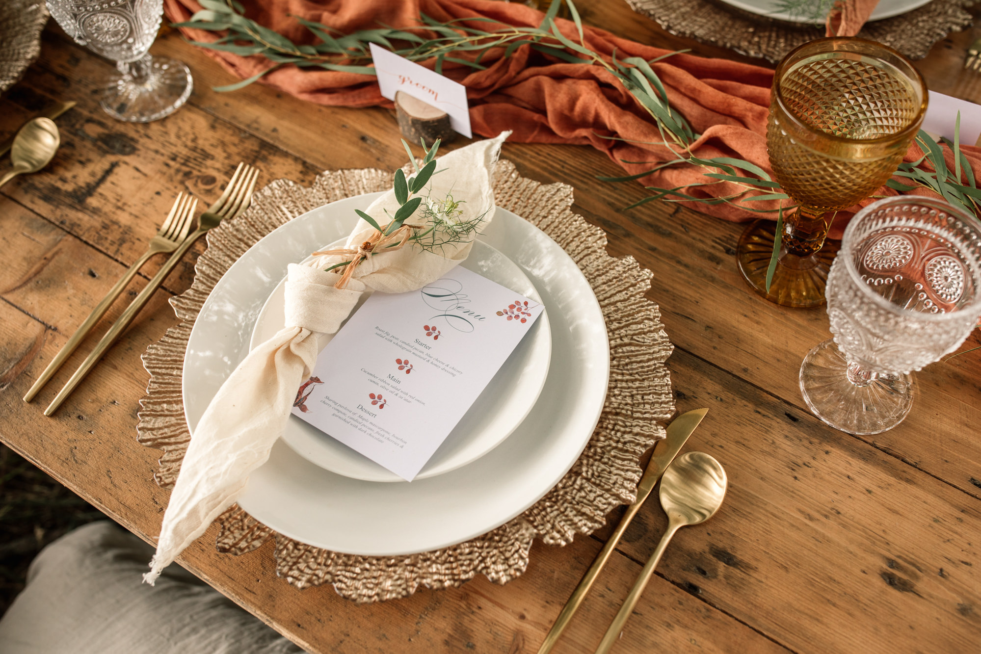 Close up wedding table setting for styled shoot for Suffolk Barn Wedding Photographer