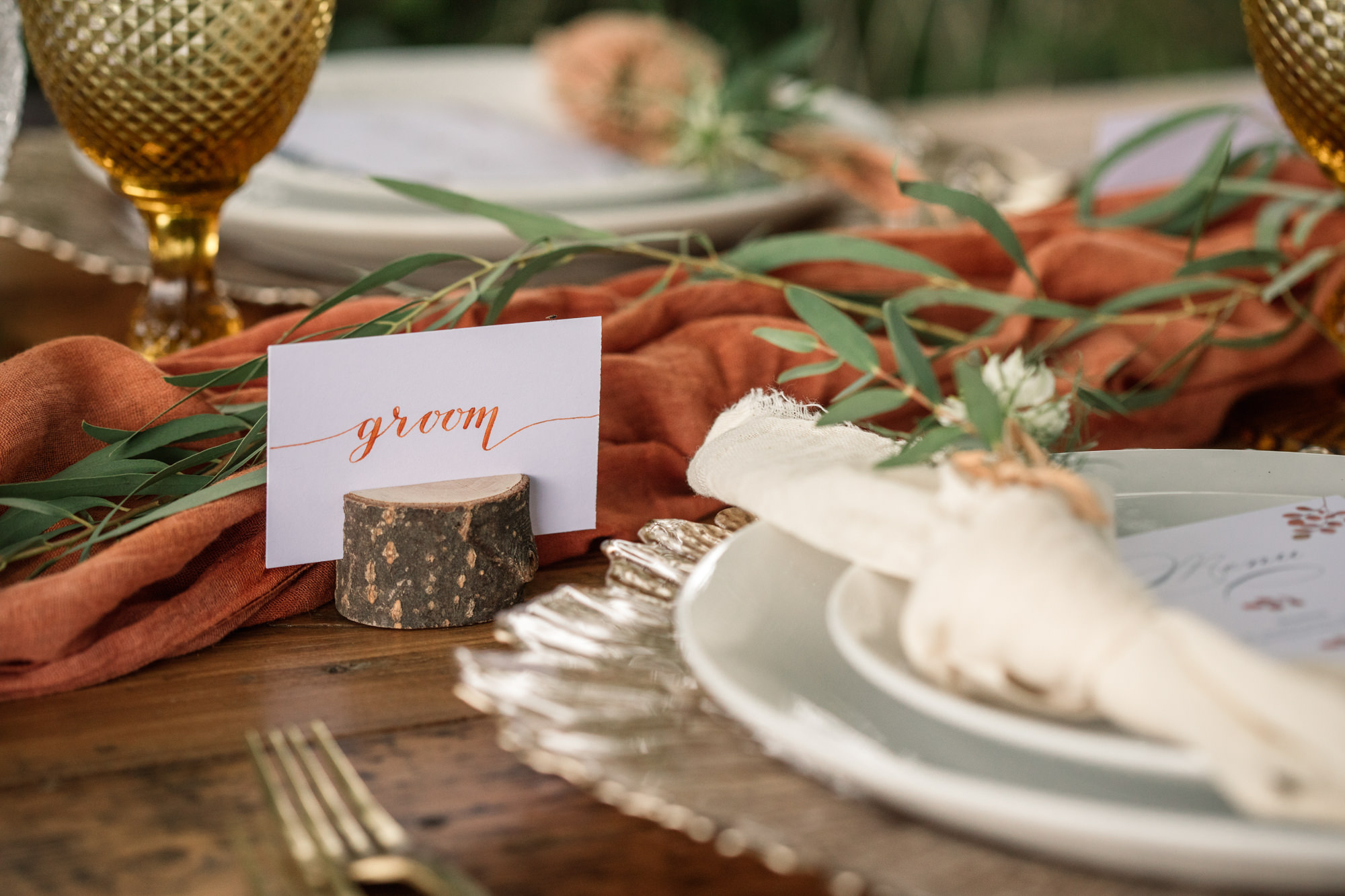 Close up of a wedding table setting for styled shoot for Suffolk Barn Wedding Photographer