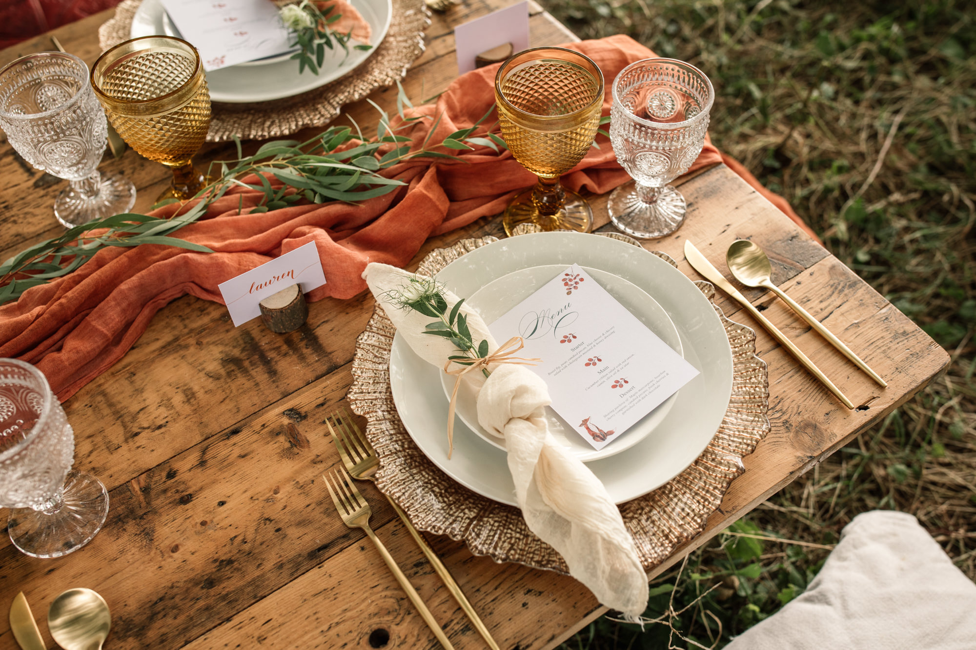 Close up of wedding table setting for styled shoot for Suffolk Barn Wedding Photographer