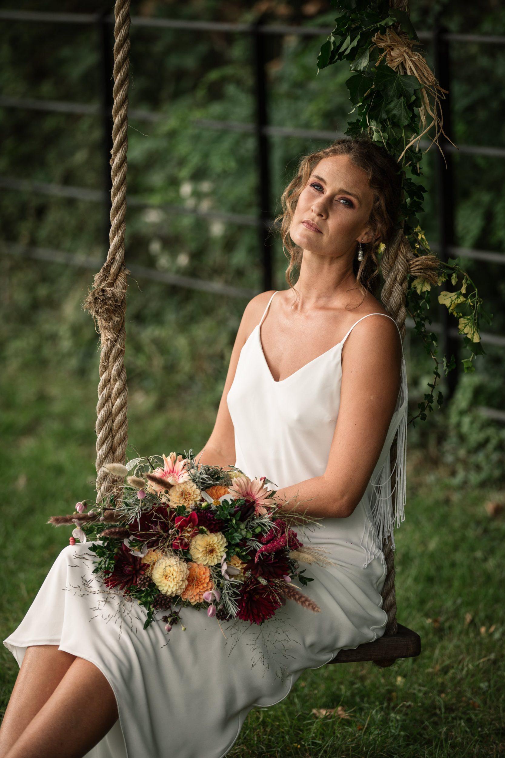 Bride at Suffolk Barn wedding shoot