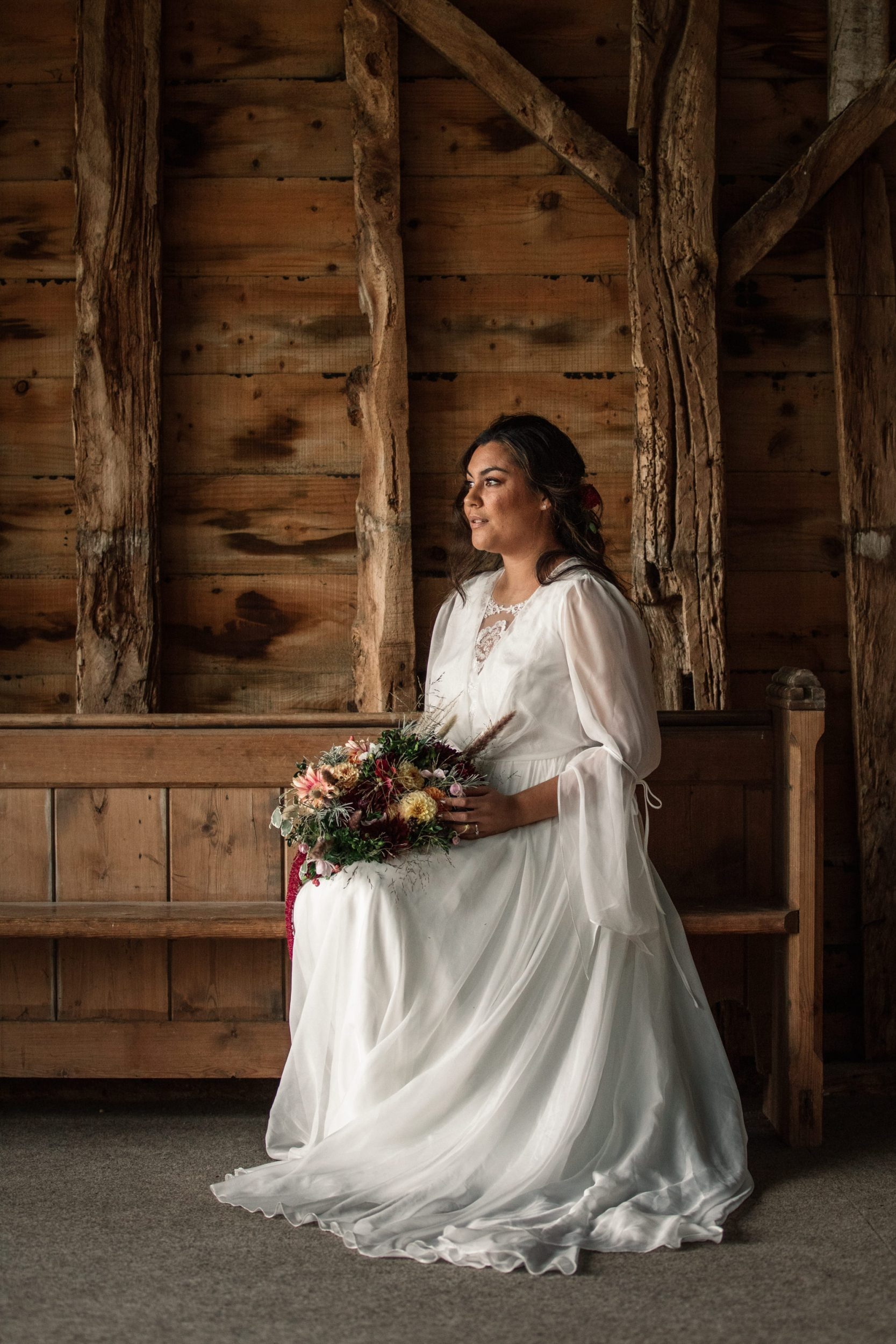 Bride at styled shoot for Suffolk Barn Wedding Photographer