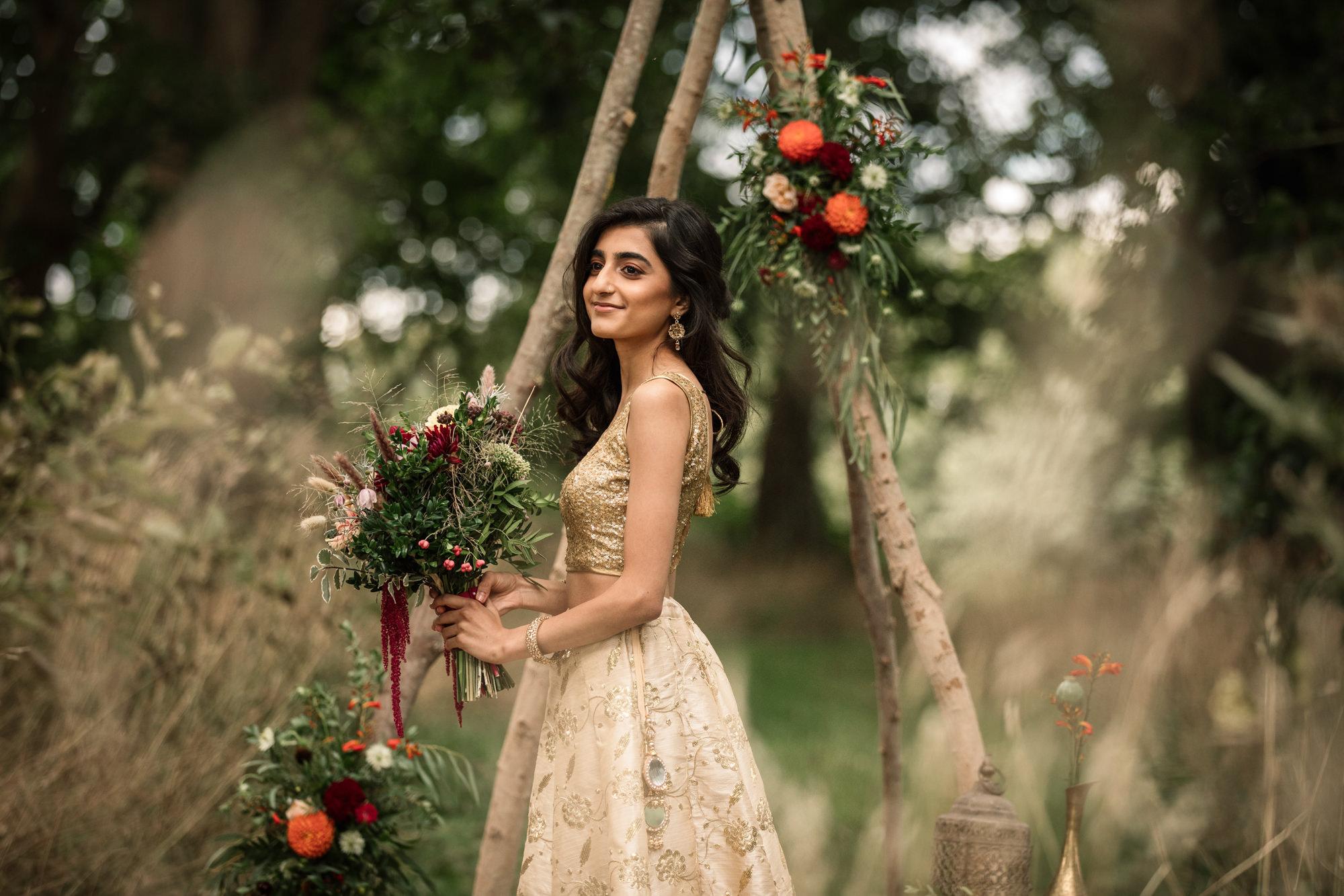 Bride outdoor wedding shoot for Suffolk Barn Wedding Photographer